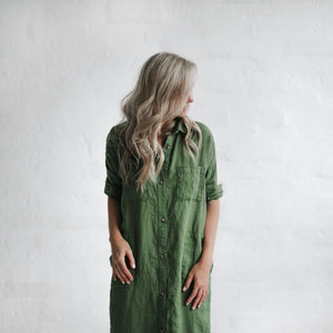 Seaside Tones Maxi Linen Dress