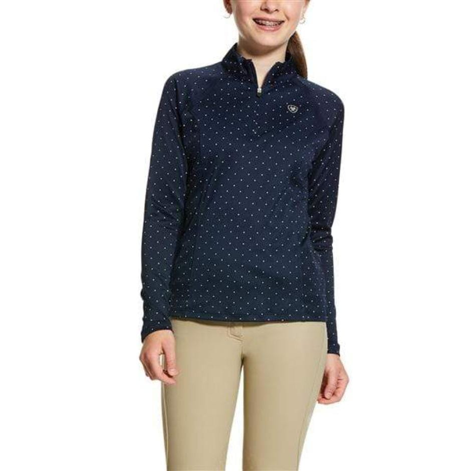 Ariat Junior's Sunstopper 1/4 Zip - Navy Dot