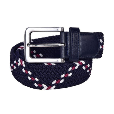 Kingsland Jan Belt in navy with burgundy and white pattern to match collection. Silver buckle with leather binding