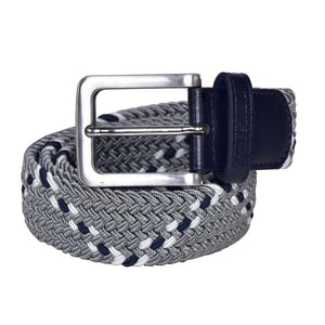 Kingsland Jan belt in grey with navy and white patterned detailing