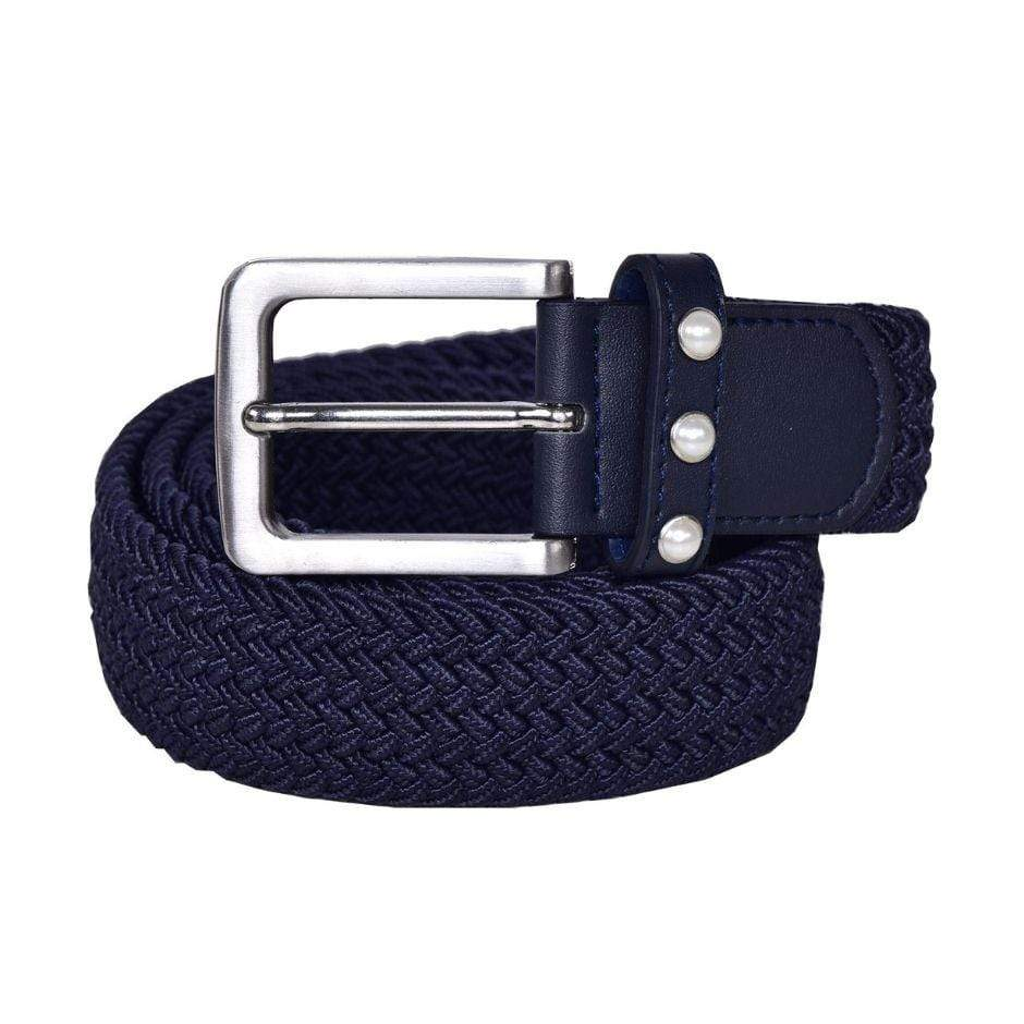 Kingsland Jana belt in navy with 3 white pearl details next to the silver buckle.