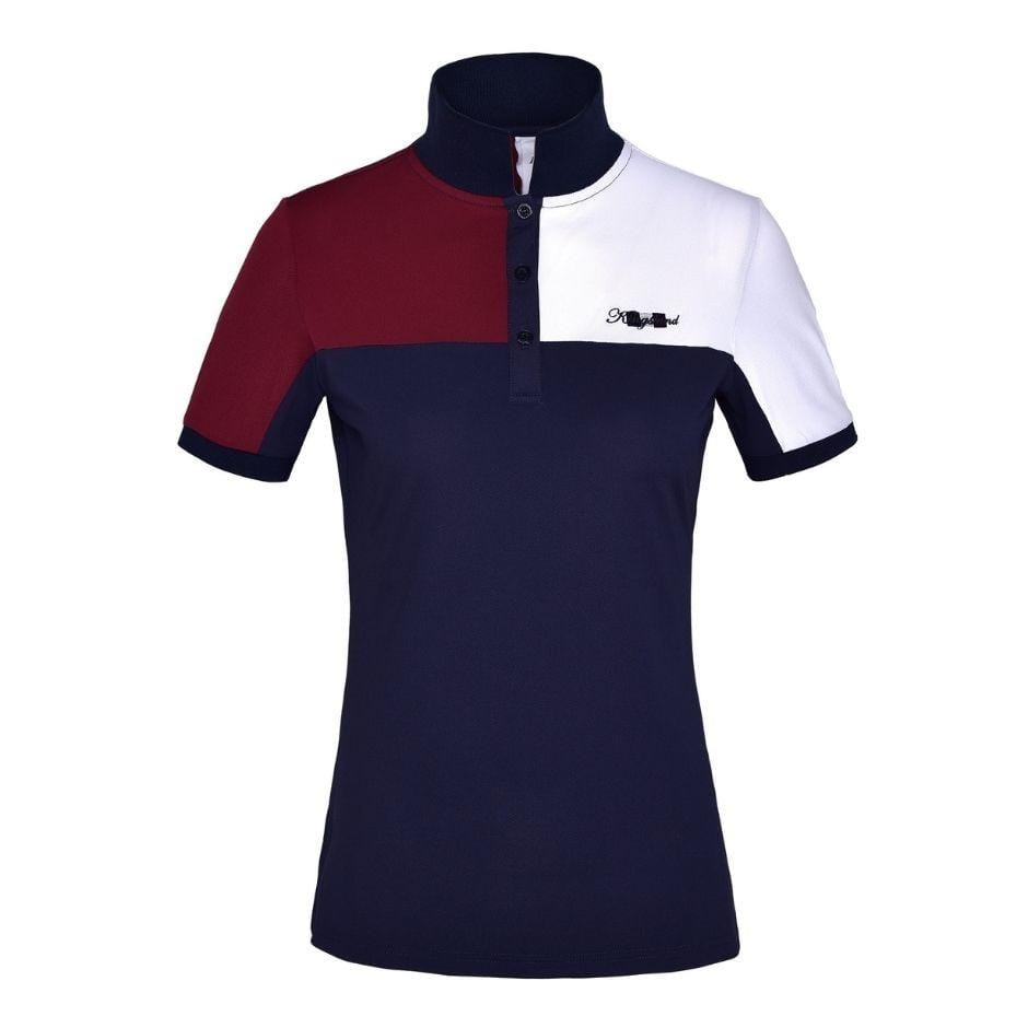 Men's Kingsland Janko Polo. Navy polo with a burgundy right chest/sleeve and a white left chest/sleeve. Small embroidered Kingsland logo on the left chest. Buttons are navy to match.