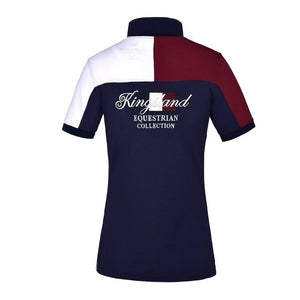 Back of the Men's Janko Polo. Showing the burgundy and white color blocking from right to left side.  Kingsland equestrian collection is embroidered in the center of the shoulder blades and back.
