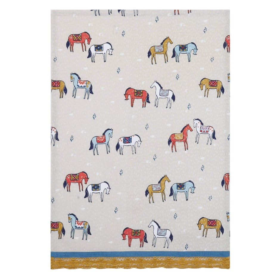 Horses In Field Pattern Kitchen Towel