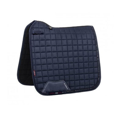 LeMieux diamonte edition square dressage saddle pad in Navy. Crystals border the back half of the pad.