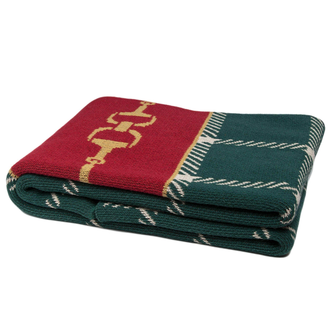 Eco Equestrian Horse Bit Plaid Throw Hunter