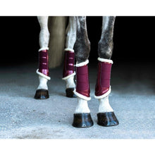 Load image into Gallery viewer, Bordeaux fur brushing boots - on grey horse