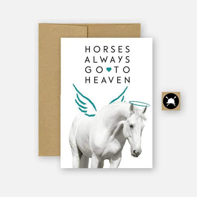 CARD AND EVELOPE WITH WHITE HORSE WITH WINGS AND HALO, TEXT READS
