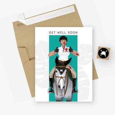GET WELL SOON CARD WITH BLOODY RIDER ON WHITE HORSE GIVING DOUBLE THUMBS UP