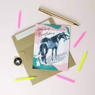 BIRTH DAY CARD WITH HORSE IN SUNGLASSESS AND TONGUE OUT