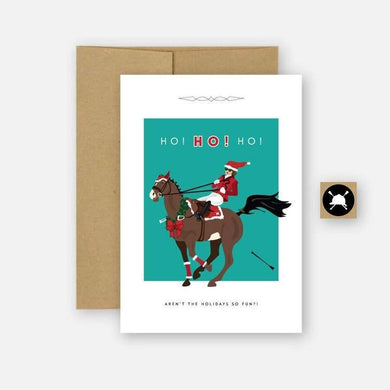 Holiday Greeting card with horse and rider. Text reads