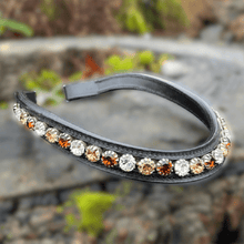 Load image into Gallery viewer, Browband Large Stone - Black w/ Gold, Copper, & Clear- Cob Size