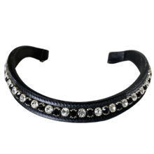 Load image into Gallery viewer, Browband Small Stone - Black w/ Black & Clear - Horse Size
