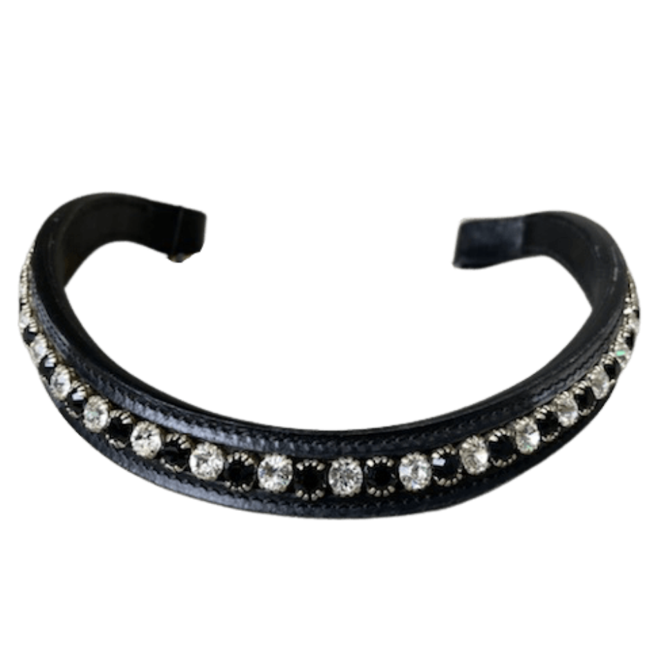 Browband Small Stone - Black w/ Black & Clear - Horse Size