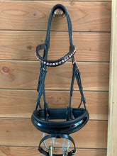 Load image into Gallery viewer, custom dressage bridle rose gold otto schumacher black patent