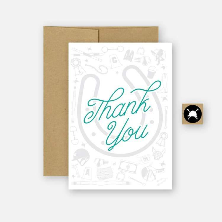 THANK YOU CARD WITH TEAL FONT AND GREY HORSE SHOE IN BACKGROUND