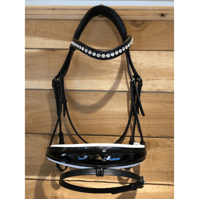 bridle2fit custom snaffle bridle with black patent noseband with flash and white padding, and clear crystal browband