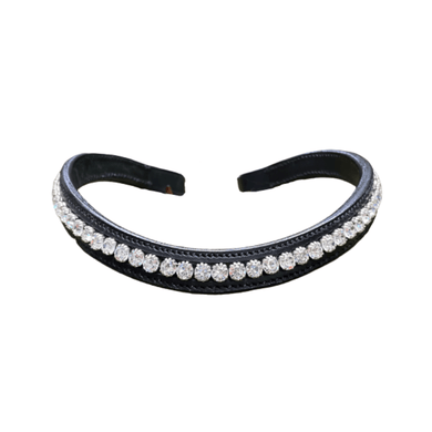 bridle2fit browband - black w/ white crystals