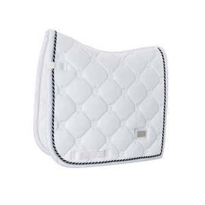 equestrian stockholm dressage pad - white perfection with navy and silver