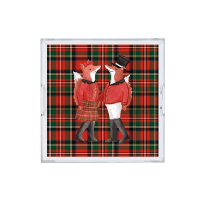 the muddy dog acrylic tray - plaid foxes