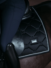 Load image into Gallery viewer, equestrian stockholm dressage saddle pad - black edition on horse