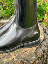 Load image into Gallery viewer, black dressage  boot on stump with crocodile detail bling