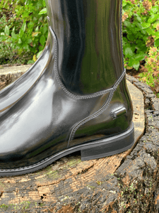 black dressage  boot on stump with crocodile detail bling