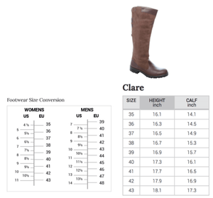 Size chart for Dubarry Irelands Clare boot, listing height and calf sizes for this boot. European to US footwear size conversion chart