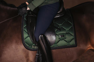 equestrian stockholm dressage saddle pad - deep olivine on bay horse