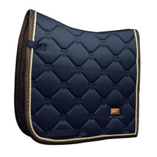 Load image into Gallery viewer, equestrian stockholm dressage pad - royal with brown binding and gold piping