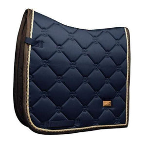 equestrian stockholm dressage pad - royal with brown binding and gold piping