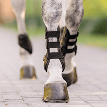 Load image into Gallery viewer, equifit eq-teq front boots black pony on grey horse