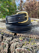 Load image into Gallery viewer, black leather belt with brass buckle