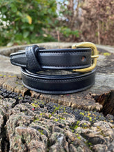 Load image into Gallery viewer, black leather belt with keeper and brass buckle
