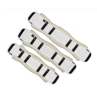 White LeMieux girth cover with velcro straps