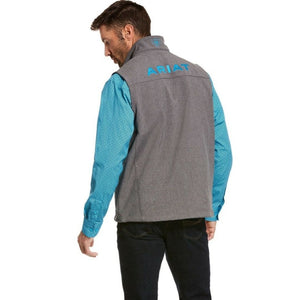 ariat mens grey softshell vest back view