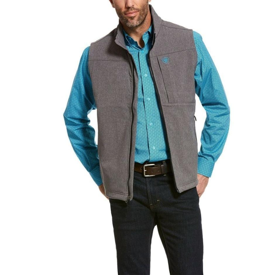 ariat mens grey softshell vest front view