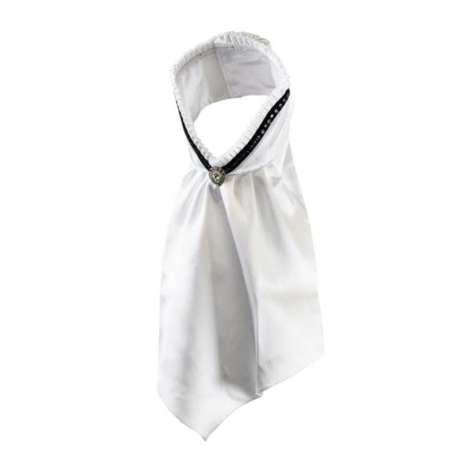 White satin stock tie with back trim. trim detailed with black stones