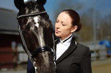 Load image into Gallery viewer, Black horse with rider wearing the white satin stock tie with the black crystals