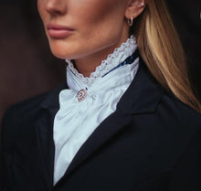 Load image into Gallery viewer, white satin stock tie with navy stripe and top edge in crystals and beads