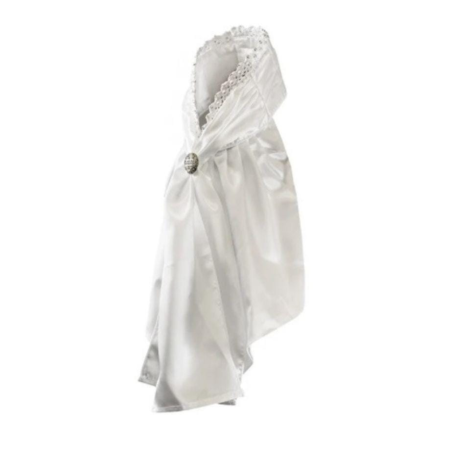 White satin stock tie with clear crystal lace detailing at the top. Stock pin in silver to match.