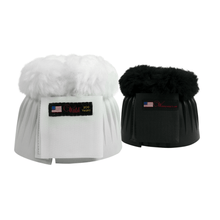 Load image into Gallery viewer, White and black walsh bell boots with velcro closure and fuzzy top