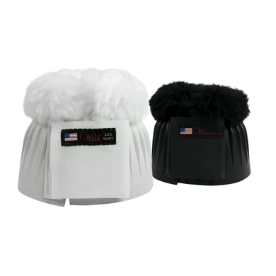White and black walsh bell boots with velcro closure and fuzzy top