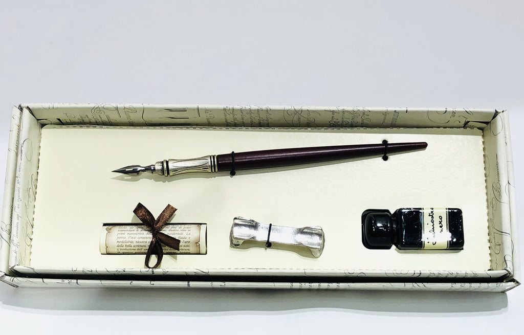 Pen Set Wooden With Metal Point And Ink