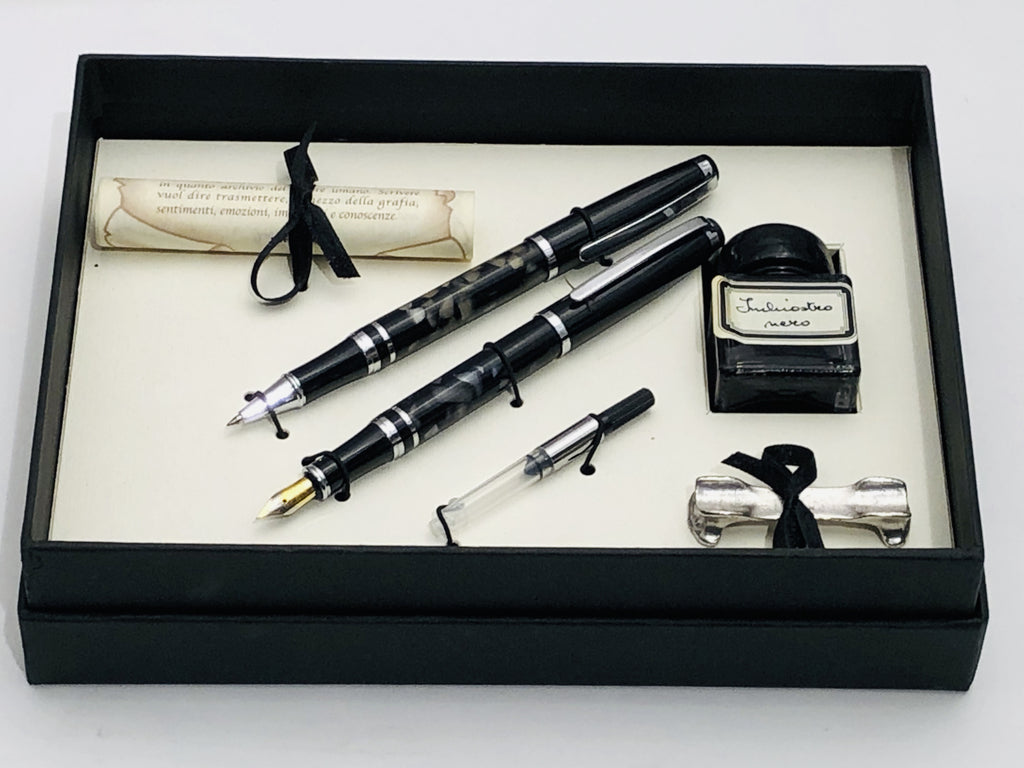 Pen Set Black - Fountain And Rollerball