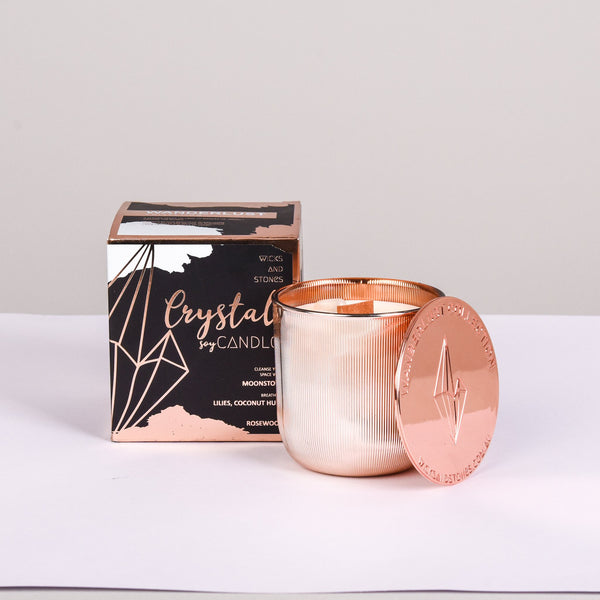 WICKS AND STONES CANDLE - WANDERLUST COLLECTION - MOONSTONE