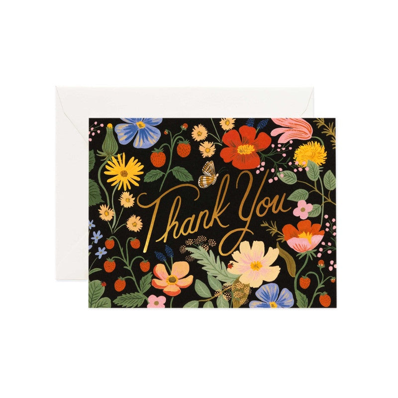 Rifle Paper Co - Single Card - Strawberry Fields Thank You