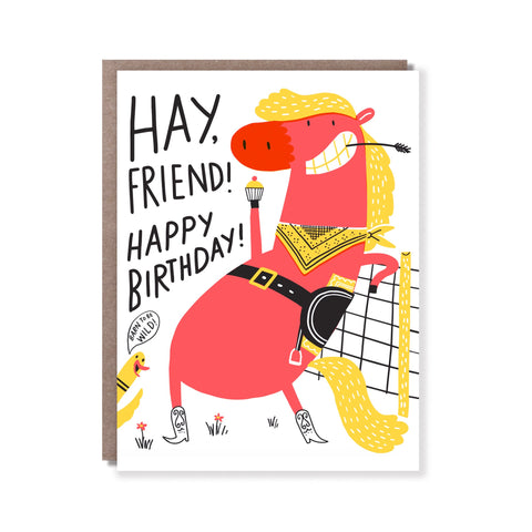 Hello Lucky - Single Card - Hay Friend Birthday