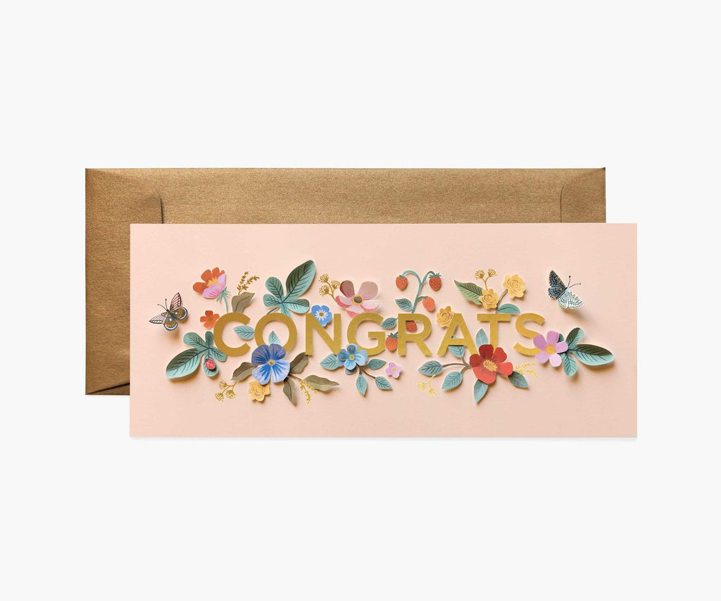 Rifle Paper Co - Single Long Card - Cut Paper Congrats