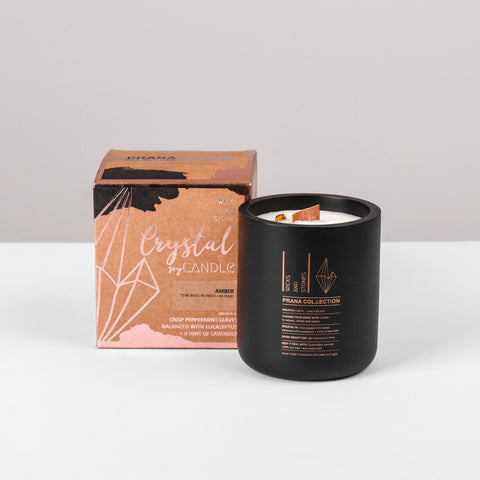 WICKS AND STONES CANDLE - PRANA COLLECTION - AMBER